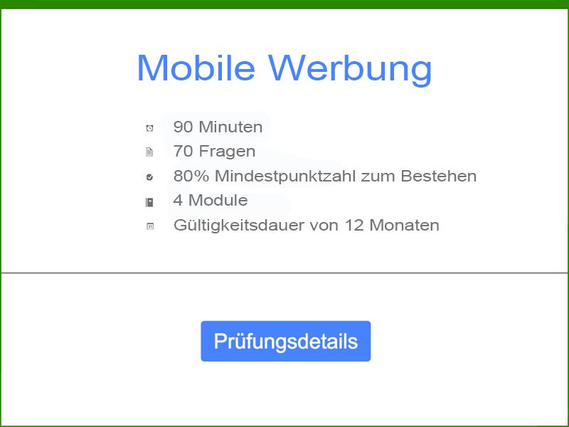 Google AdWords Mobile Werbung Prüfungsdetails