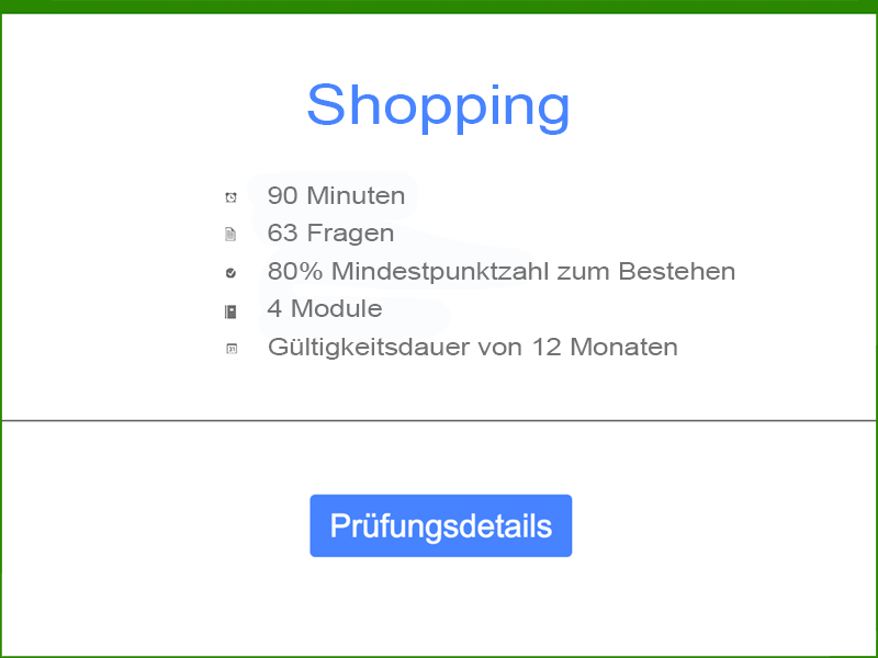 Google AdWords Shopping Prüfungsdetails