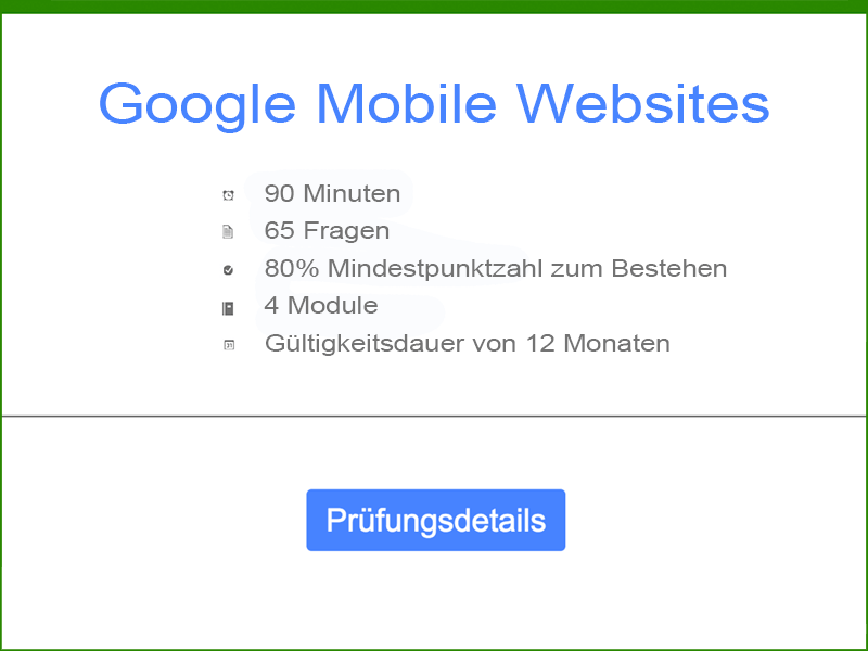 Google AdWords Mobile Websites Prüfungsdetails