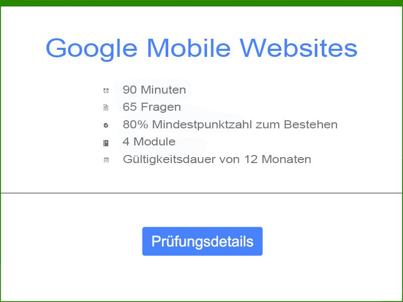 Google AdWords Mobile Websites Prüfungsdetails