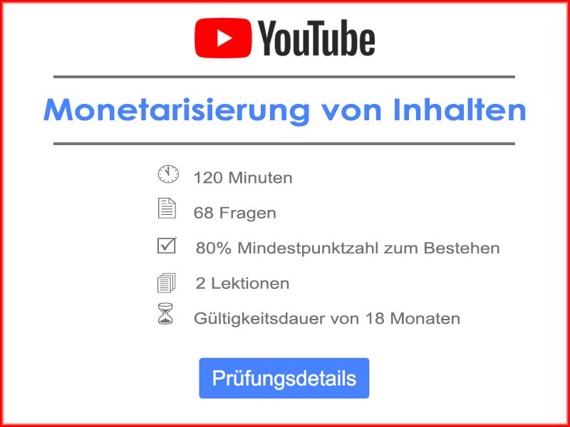YouTube Monetarisierung von Inhalten Prüfungsdetails