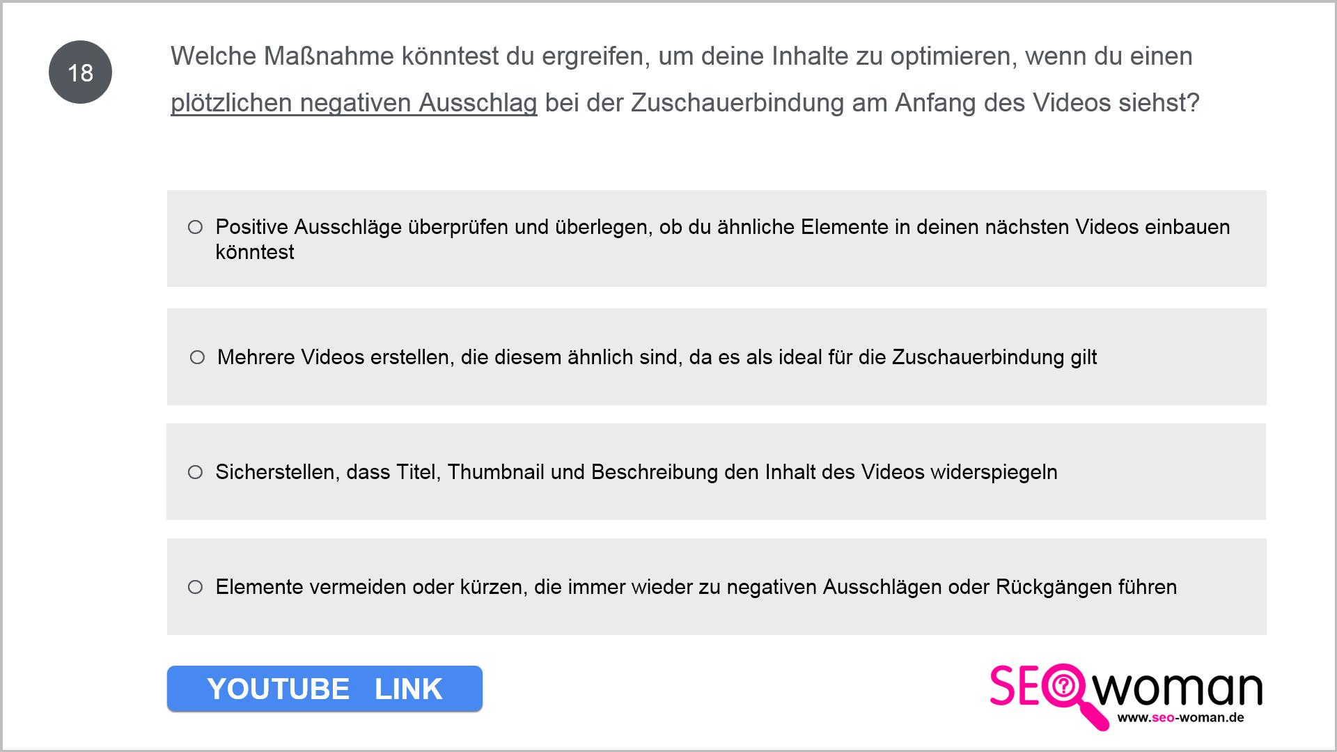 Welche Maßnahme könntest du ergreifen, um deine Inhalte zu optimieren, wenn du einen plötzlichen negativen Ausschlag bei der Zuschauerbindung am Anfang des Videos siehst?
