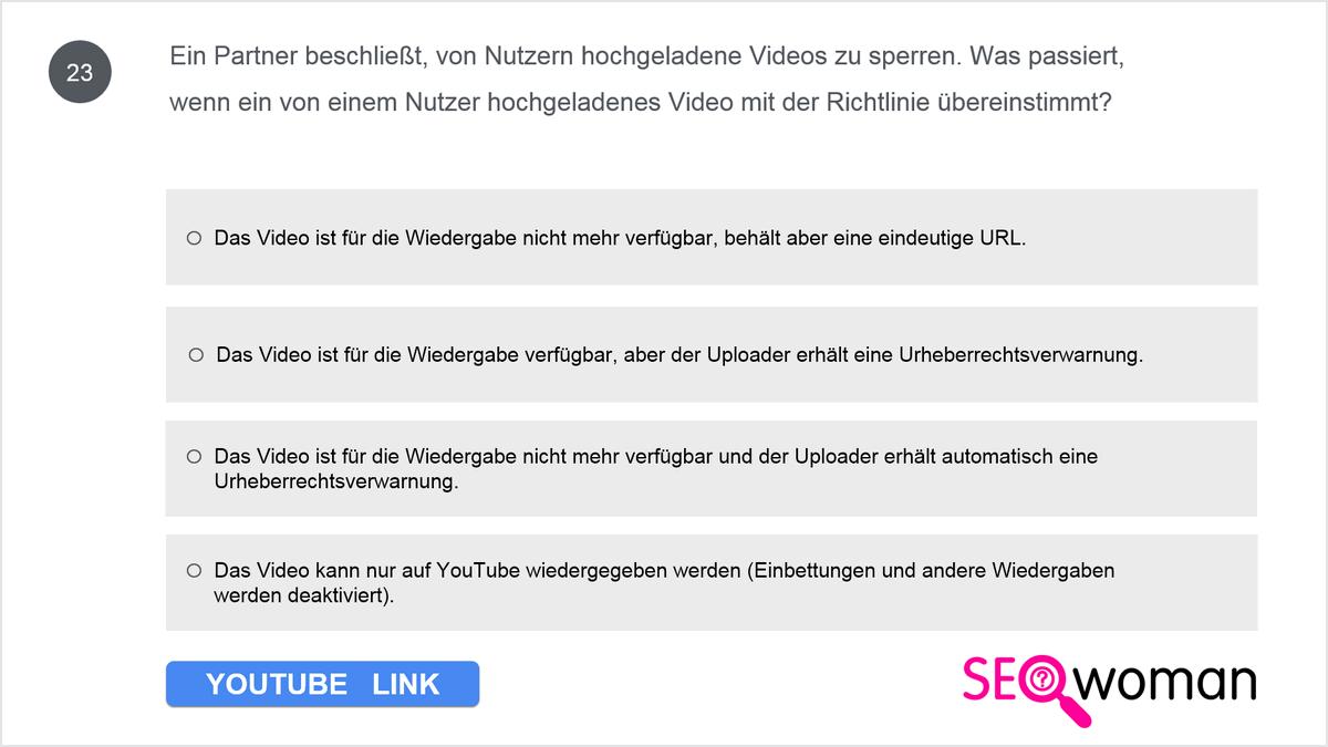 Ein Partner beschließt, von Nutzern hochgeladene Videos zu sperren. Was passiert, wenn ein von einem Nutzer hochgeladenes Video mit der Richtlinie übereinstimmt?