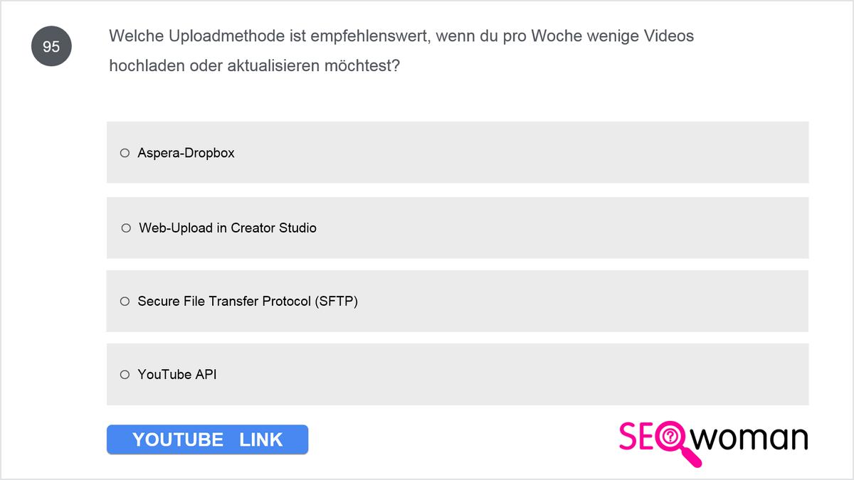 Welche Uploadmethode ist empfehlenswert, wenn du pro Woche wenige Videos hochladen und aktualisieren möchtest?