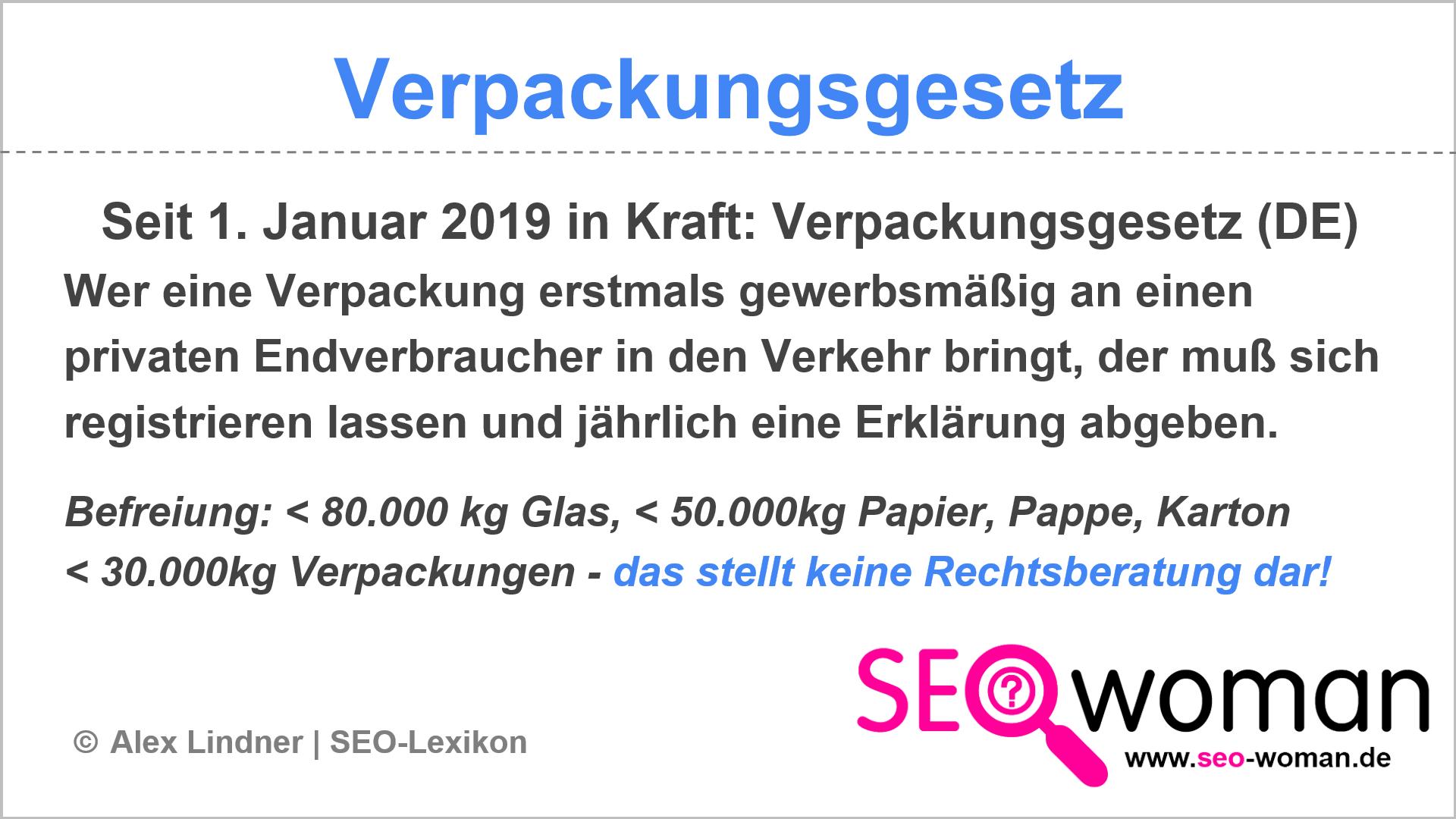 Verpackungsgesetz | SEO-Lexikon
