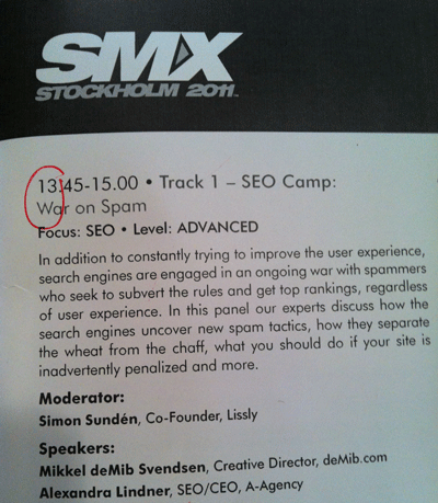 SMX Stockholm Vortrag War on Spam