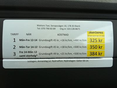 Stockholm Taxi Preisliste