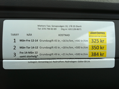 Stockholm Taxi-Pricelist