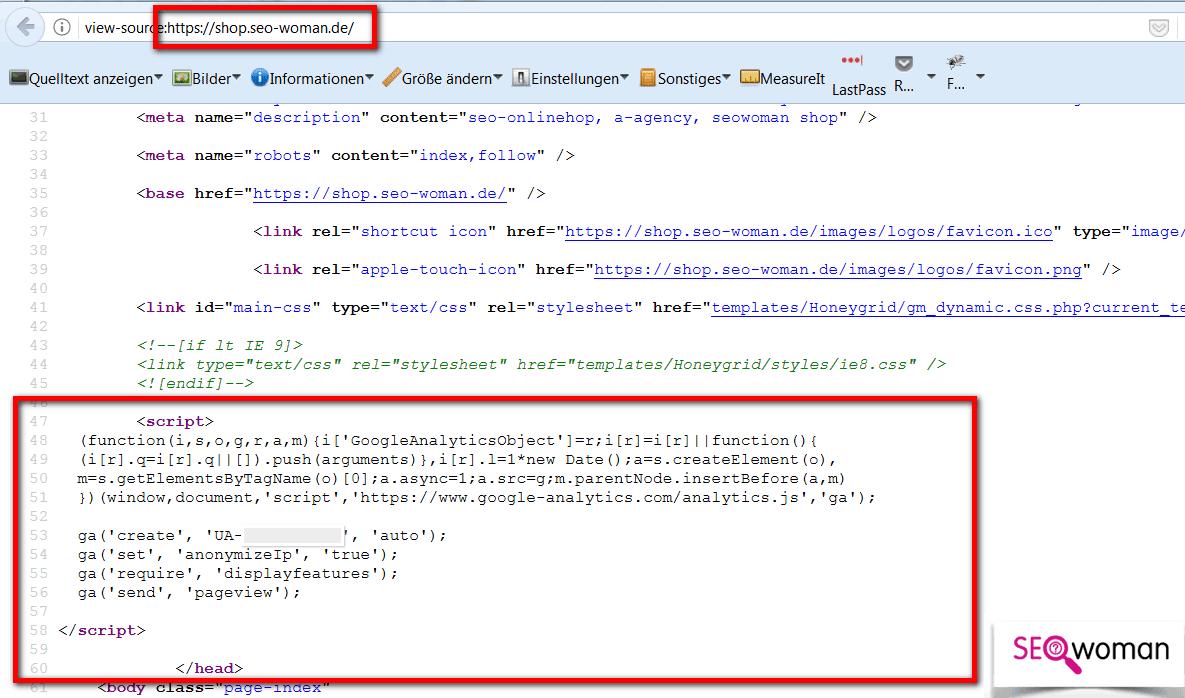 Google Analytics Tracking im Gambio Quellcode anzeigen