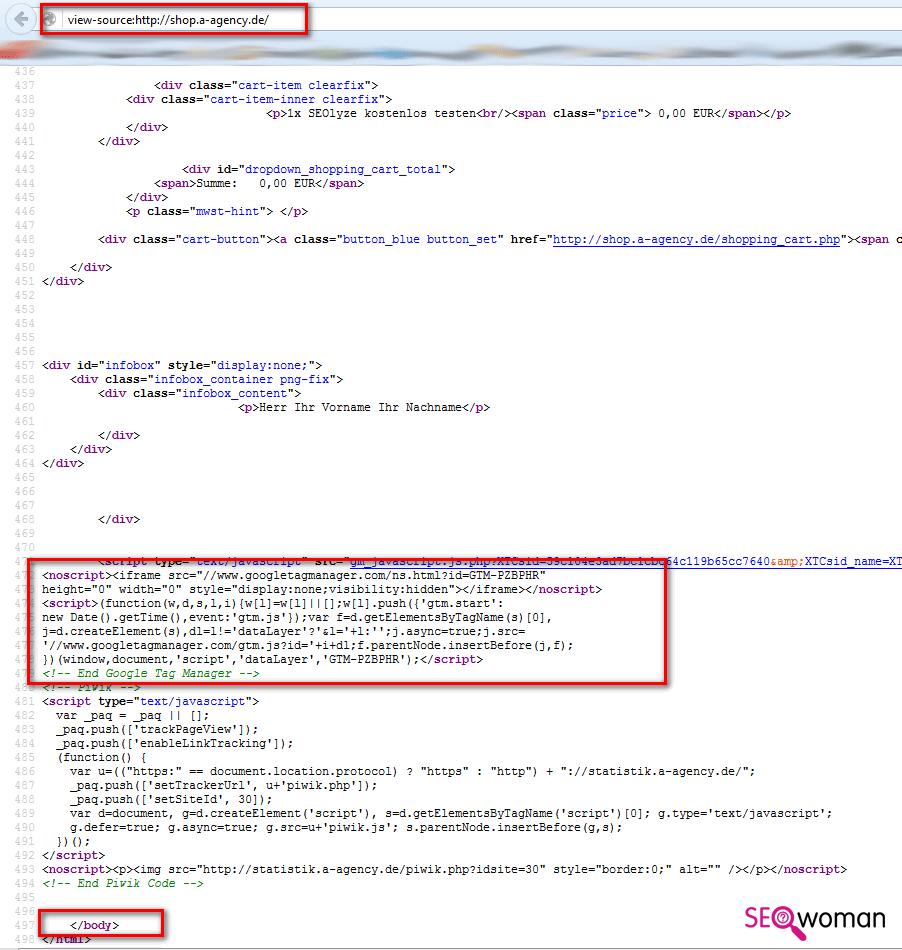 Gambio Google Tag-Manager einbauen - Schritt 2 - Tracking-Code testen