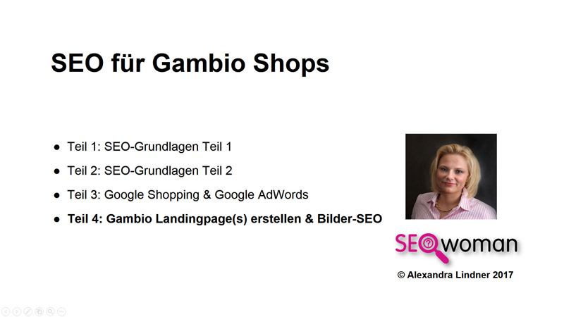 Gambio Webinar Landingpages + Bilder-SEO