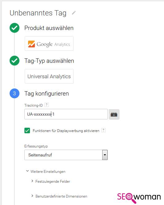 Gambio Google Tag-Manager einrichten - Schritt 3 - Google Analytics einbauen