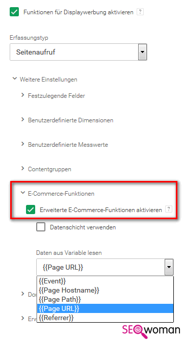 Google Tag-Manager einrichten - Schritt 3 - Google Analytics E-Commerce Funktionen