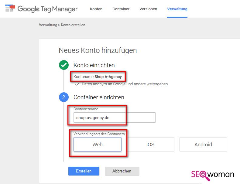 Gambio Google Tag-Manager einbauen - Schritt 1 - Einrichten