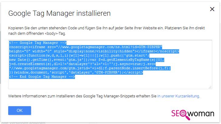 Gambio Google Tag-Manager einbauen - Schritt 1 - Quellcode